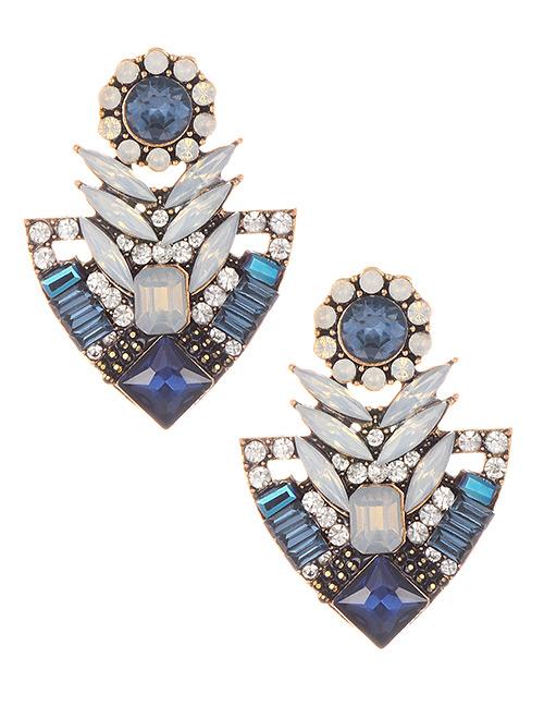 Elegant Blue Geometric Shape Diamond Design Earrings