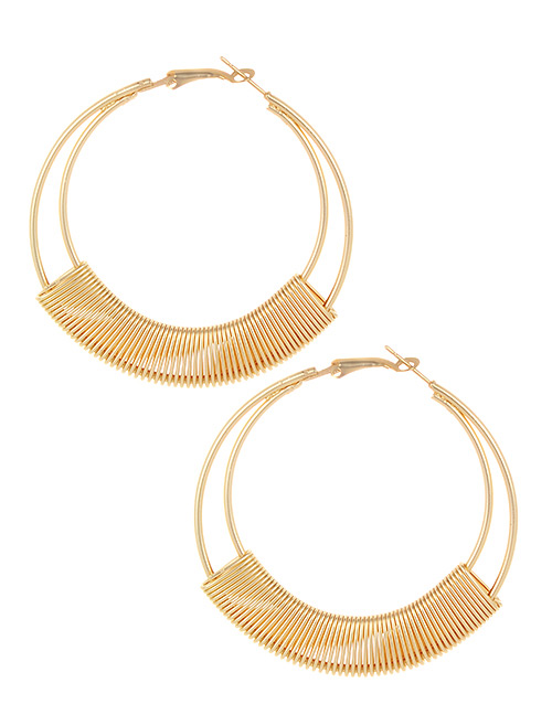 Elegant Gold Color Circular Ring Design Pure Color Earrings