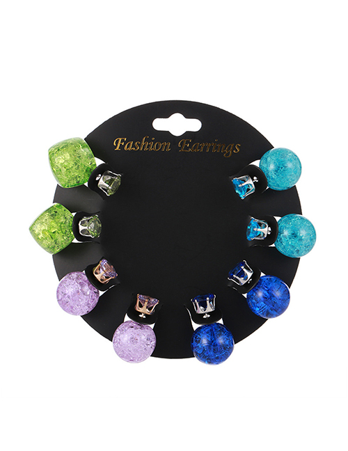 Elegant Multi-color Diamond Decorated Color Matching Earrings(8pcs)