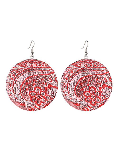 Bohemia Red Flowers Pattern Design Round Shape Earrings