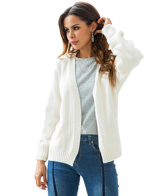 Fashion White Pure Color Design Loose Knitted Cardigan