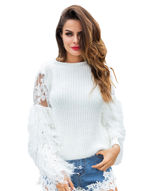Fashion White Embroidered Flowers Design Tassel Sweater