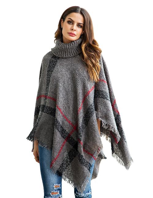 Fashion Gray Tassel Decorated Irregular Shape Sweater