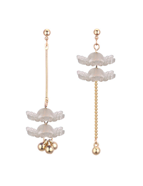 Fashion Gray Flower Shape Decorated Earrings
