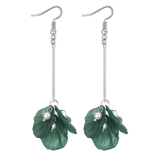 Elegant Green Flower Shape Decorated Earrings