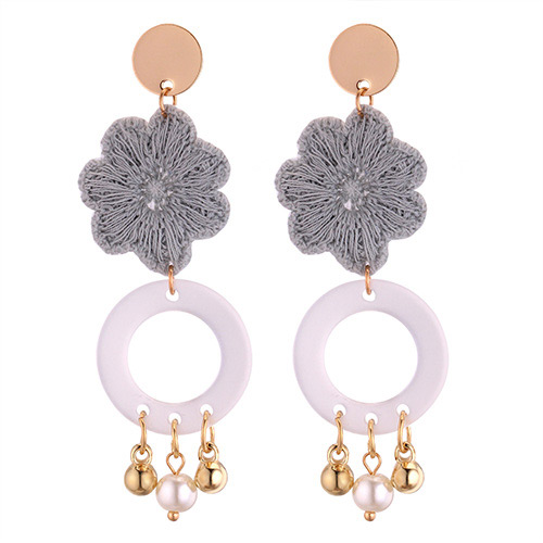 Fashion Gold Color+gray Flower Shape Decorated Earrings