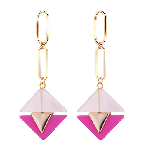 Fashion Plum Red Triangle Shape Decorated Earrings