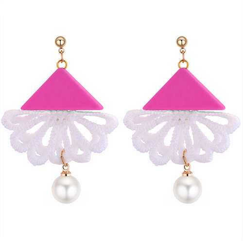 Fashion Plum Red+white Triangle Shape Decorated Earrings