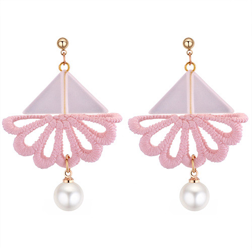 Fashion White+pink Triangle Shape Decorated Earrings