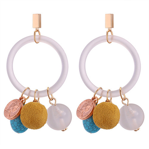 Fashion Yellow Circular Ring Shape Decorated Pom Earrings