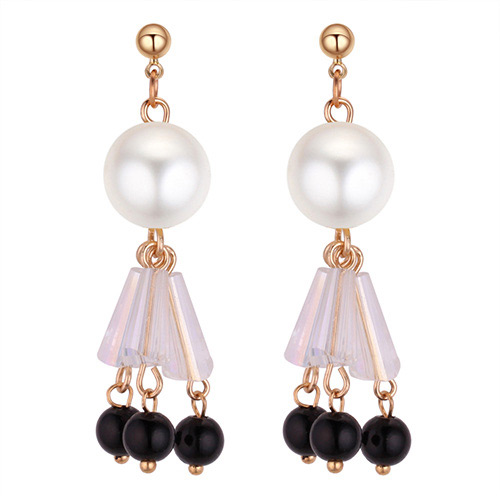 Fashion White+black Water Drop Shape Decorated Earrings