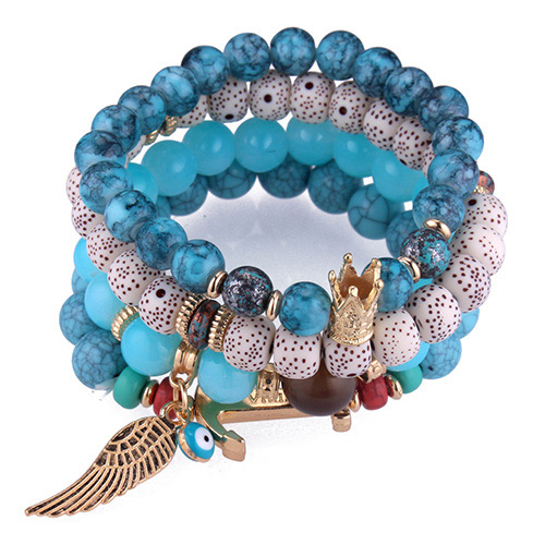 Trendy Blue Wing&beads Decorated Multi-layer Bracelet
