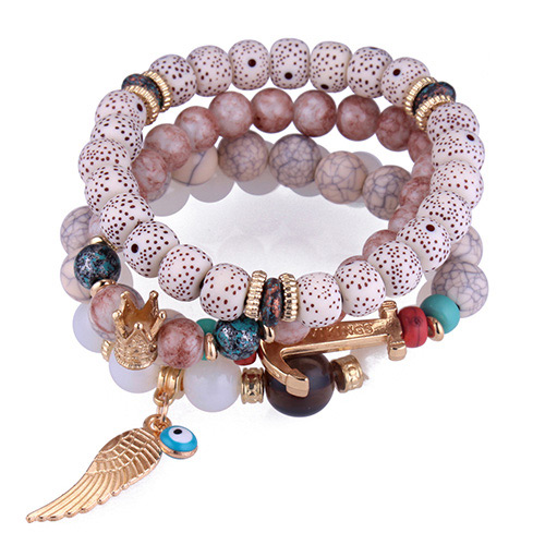 Trendy White Wing&beads Decorated Multi-layer Bracelet