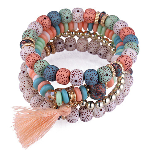 Fashion Multi-color Tassel&beads Decorated Multi-layer Bracelet