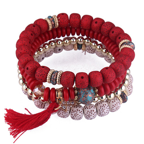 Fashion Red Tassel&beads Decorated Multi-layer Bracelet
