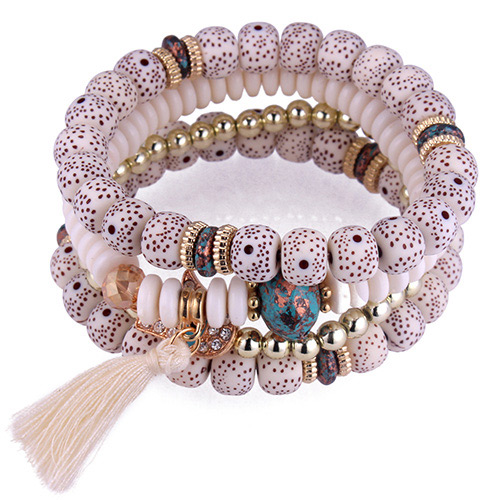 Fashion White Tassel&beads Decorated Multi-layer Bracelet