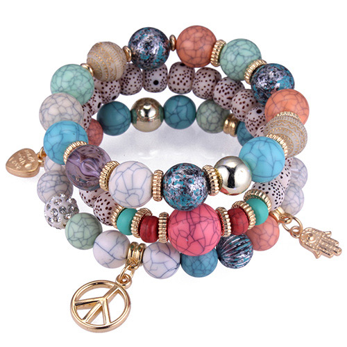 Vintage Multi-color Palm&beads Decorated Multi-layer Bracelet