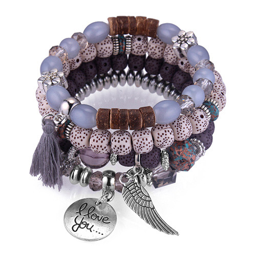 Vintage Gray Tassel&wing Decorated Multi-layer Bracelet