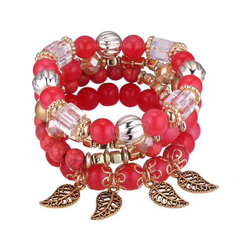 Fashion Red Hollow Out Leaf Pendant Decorated Bracelet