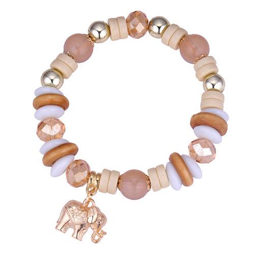 Vintage Coffee Elephant Pendant Decorated Beads Bracelet