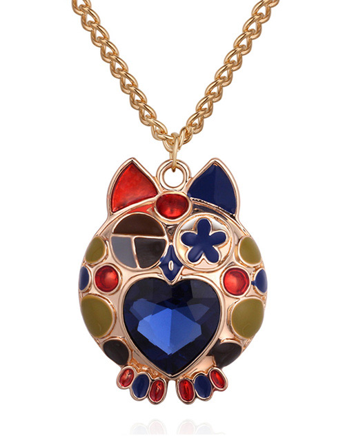Fashion Blue+gold Color Owl Shape Decorated Necklace