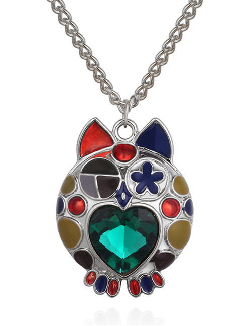 Fashion Green+silver Color Owl Shape Decorated Necklace