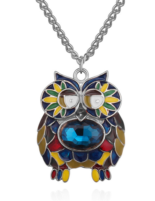 Fashion Silver Color+blue Owl Shape Decorated Necklace