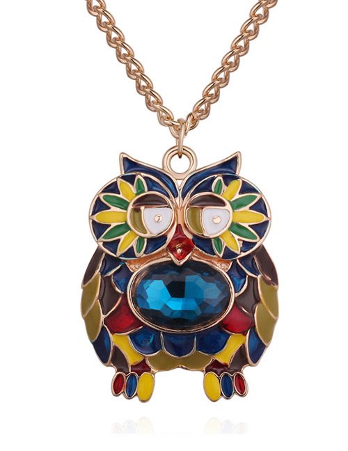 Fashion Gold Color+blue Owl Shape Decorated Necklace