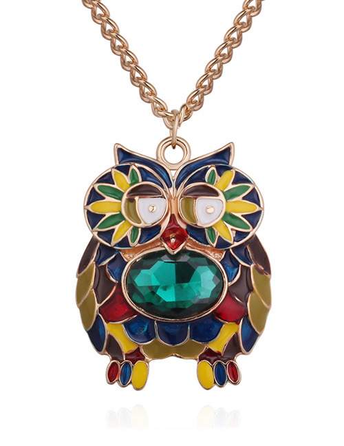 Fashion Gold Color+green Owl Shape Decorated Necklace