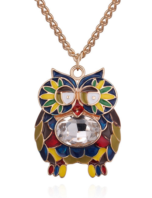 Fashion Gold Color +white Owl Shape Decorated Necklace