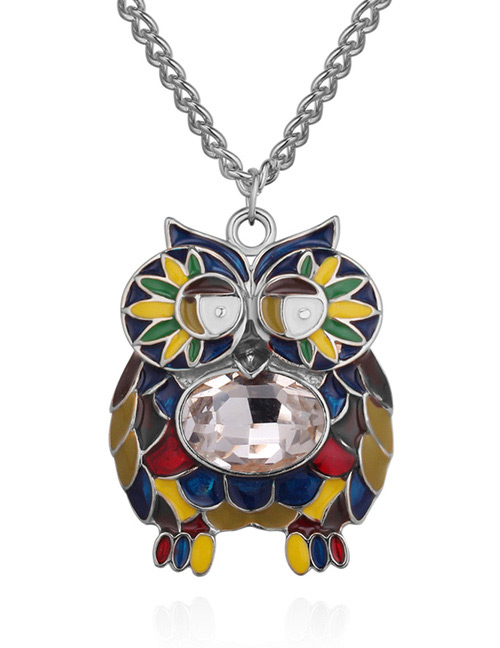 Fashion Silver Color+white Owl Shape Decorated Necklace