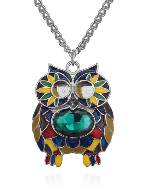 Fashion Silver Color+green Owl Shape Decorated Necklace