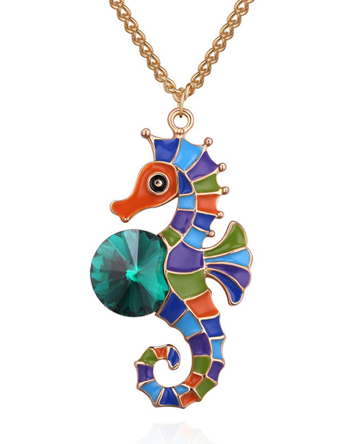 Fashion Gold Color+green Seahorse Shape Decorated Neclace