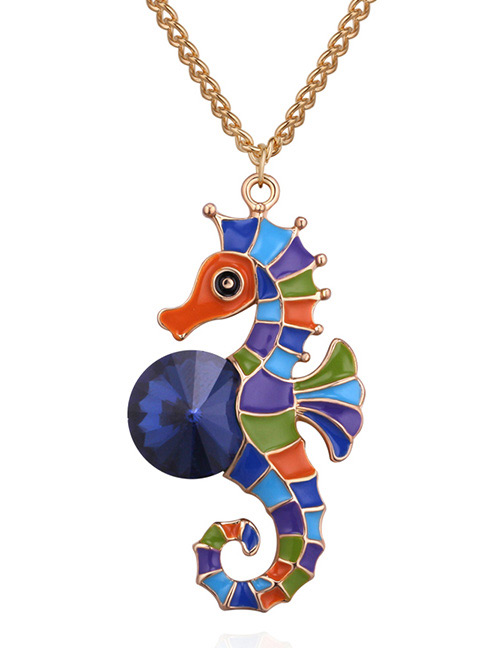Fashion Gold Color+blue Seahorse Shape Decorated Neclace