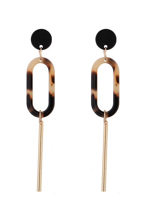 Fashion Brown Oval Shape Decorated Earrings