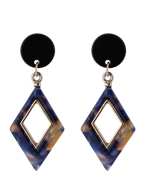 Fashion Blue Rhombus Shape Decorated Earrings