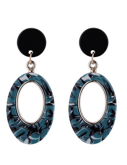 Fashion Green Oval Shape Decorated Earrings