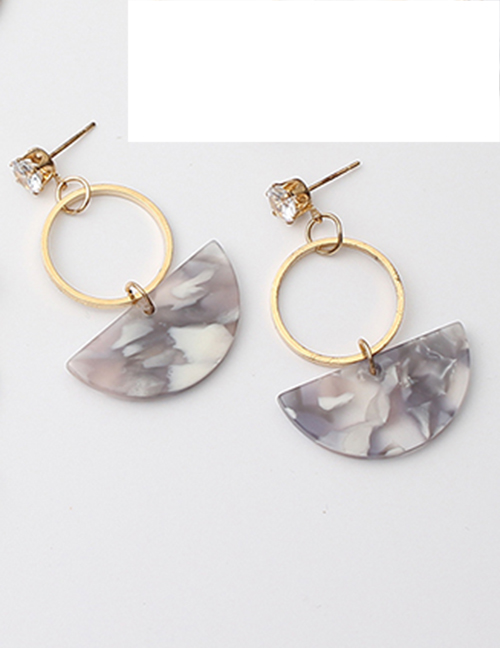 Fashion Beige Semicircle Shape Decorated Earrings
