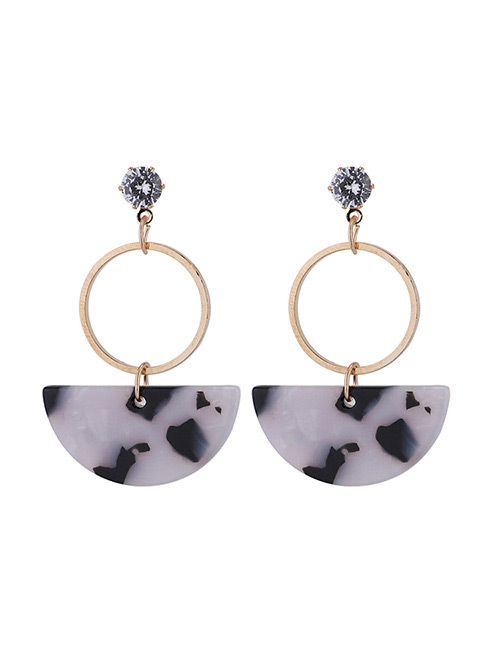Fashion White Semicircle Shape Decorated Earrings