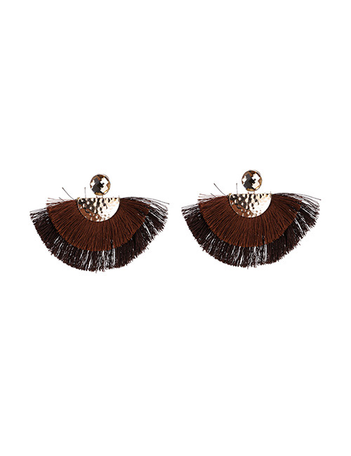 Fashion Brown Semicircle Shape Decorated Earrings