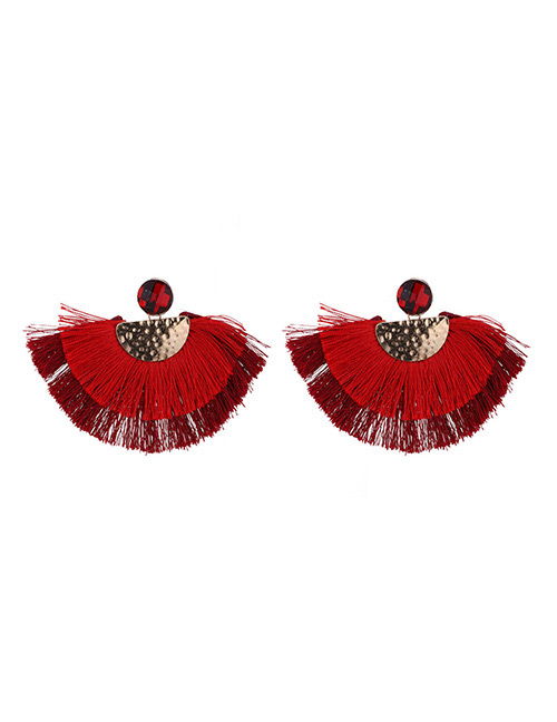 Fashion Red Semicircle Shape Decorated Earrings