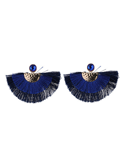 Fashion Blue Semicircle Shape Decorated Earrings