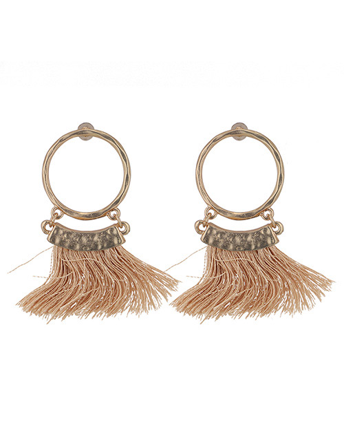 Fashion Khaki Round Shape Decorated Tassel Earrings