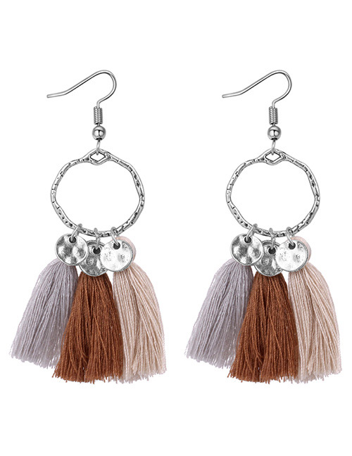 Fashion Khaki+gray+brown Tassel Decorated Earrings