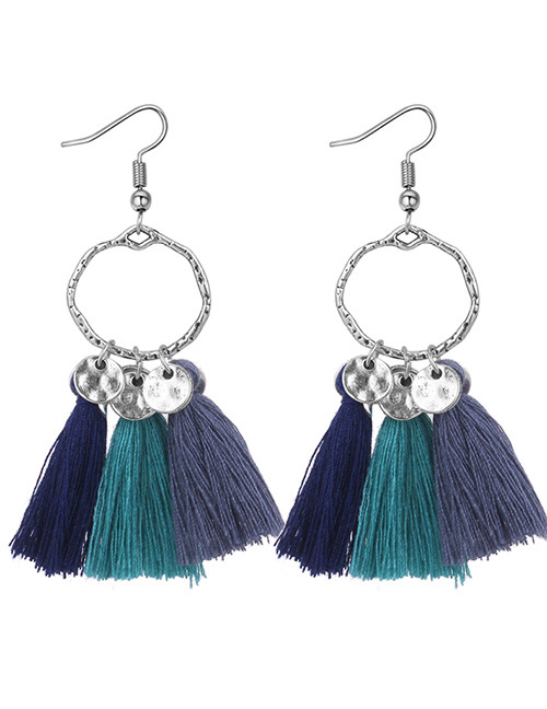 Fashion Navy+gray+blue Tassel Decorated Earrings