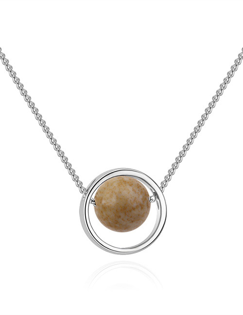 Fashion Silver Color+khaki Round Shape Decorated Necklace