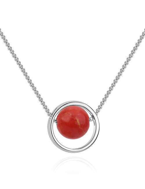 Fashion Silver Color+red Round Shape Decorated Necklace