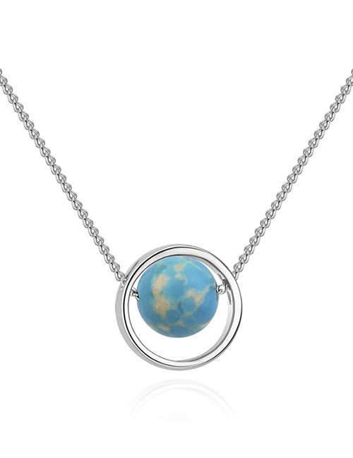 Fashion Silver Color+blue Round Shape Decorated Necklace