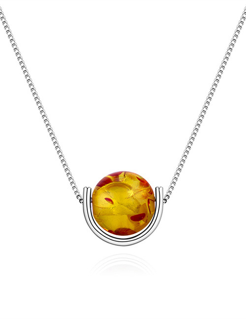 Fashion Silver Color+yellow Round Shape Decorated Necklace
