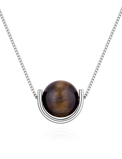 Fashion Silver Color+black Round Shape Decorated Necklace